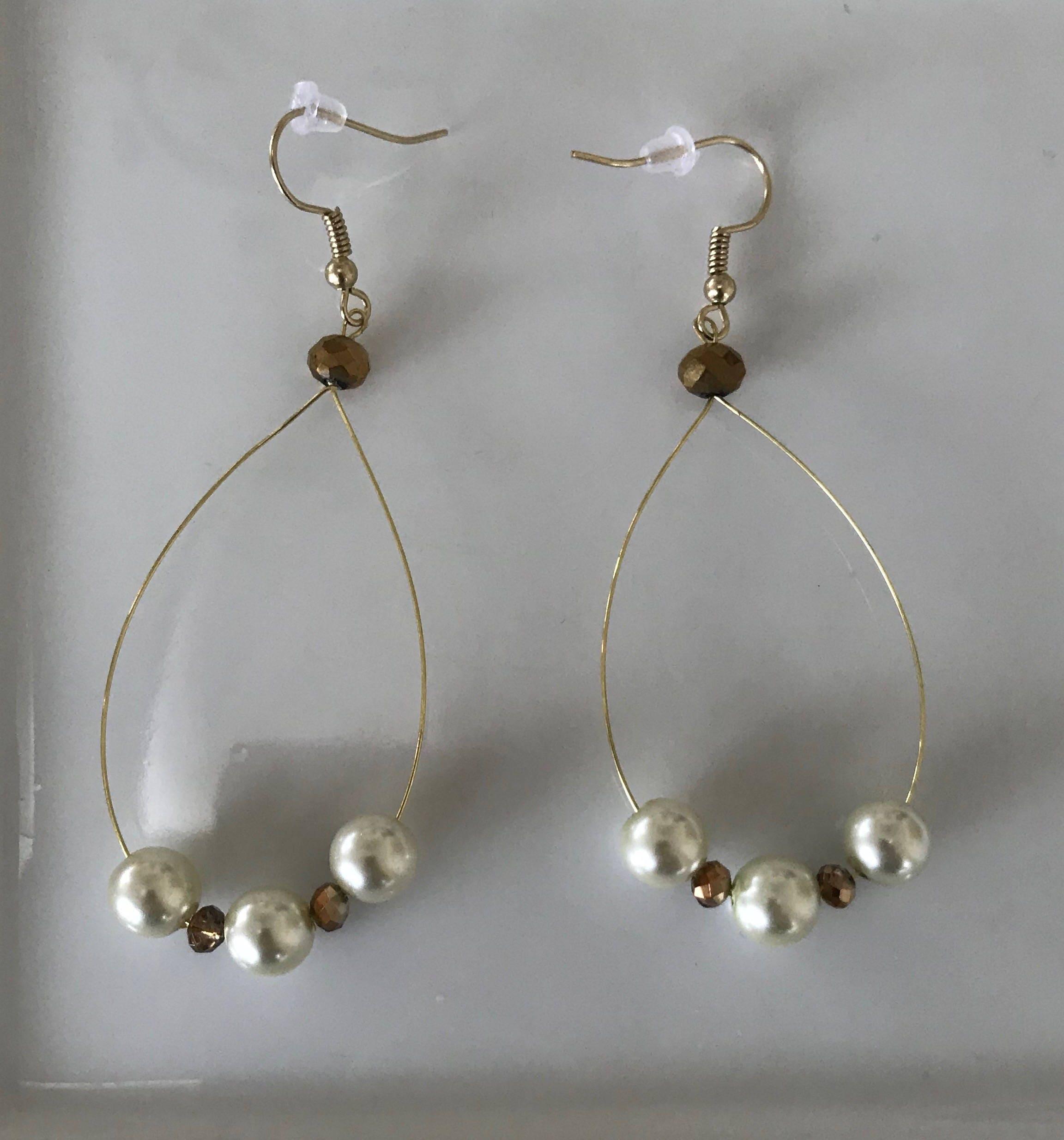 Pearl and Gold Handmade Earrings