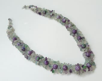 Necklace, handmade, Fluoride stones, Synthetic Turquoise stones, 22.5 inch.