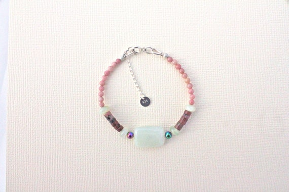 Gemstones and Silver 925 Bracelet: new jade, rhodonite and rainbow hematite