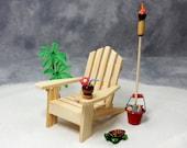 Beach Dreams Tropical Escape - Miniature Adirondack Chair, Tiki Torch, Coconut Drink, Sea Turtle, Palm Tree, Tabletop Scene, Free Shipping
