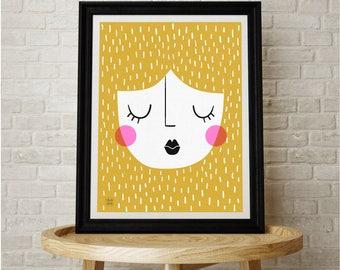 Blonde Girl Print, Art Print, Interior, Contemporary, Illustration, Face,Drawing, Decor, Scandinavian, Print, Artwork, Wall Art, Digital Art