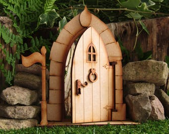Opening XL Fairy Castle Door - Freestanding Fully Opening Three-dimensional  Wooden Fairy Door Craft Kit with Base Stand and Flag