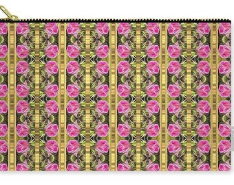 Pink roses golden stripes pattern Carry -all Pouch