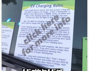EV Charging Rules NotePad - 50 sheets each - EV Charger Blocking Notices - Electric Vehicle Charging EVetiquette Windshield Notice EVHOLE
