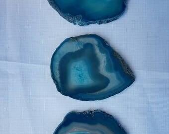 Set of 6 Teal Agate Crystal Coasters