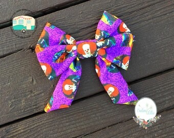 Pennywise bow, Pennywise fabric, fabric bow, girls bow, hair clip, IT bow, clown bow, clown hair clip, Pennywise the clown, scary clown bow