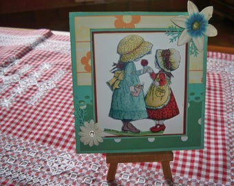 several colors with two little girls card envelope included