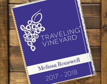 2017-2018 Traveling Vineyard Personalized Planner with Wine Stickers (School Year August 2017-July2018)