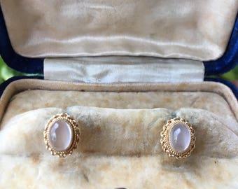 Vintage Moonstone 9k Gold Earrings
