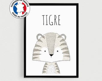 Post quotes in french of animal (Tiger) Scandinavian for nursery or gift or baby room baby shower