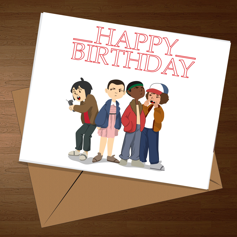 Stranger Things Birthday Card Cool Birthday Card Funny