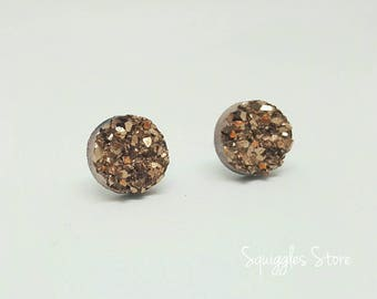 Rose Gold Bronze Faux Druzy 10mm or 12mm Hypoallergenic Titanium Earrings
