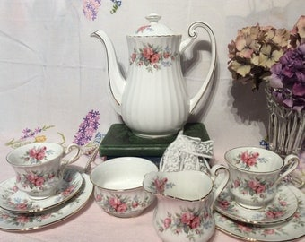 Vintage Richmond China Coffee for 2 set, incl coffee pot, 2 x trios-milk jug and sugar bowl-wedding gift-mothers day-baby shower-high tea