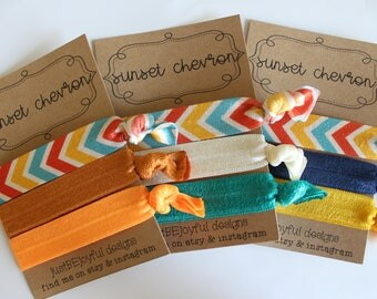 Sunset Chevron - No Crease Hair Tie - Party Favors - Soft Hair Tie - Workout Hair Tie