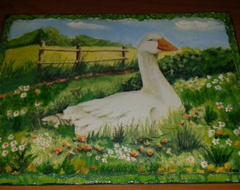 Square canvas decoupage lawn gift idea