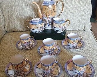 Vintage Hand Painted Porcelain Japanese Tea Set - with Geisha Girl and Japanese Willow Tree
