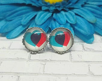 Double Heart Earrings, Earrings, Earrings, Heart Studs, Heart Stud Earrings, Stainless Steel, Hypoallergenic, Heart, Valentine's Day
