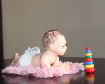 "OOAK 9"" Handmade Polymer Clay Baby Girl Doll Sculpture by ALMA Artistry"