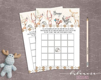 Woodland Animals Bingo Baby Shower Game Cute Animals Fox Deer Squirrel Gender Neutral Printable Bingo Trivia Quiz Activity - CG007