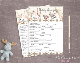 Woodland Animals Nursery Rhyme Quiz Baby Shower Game Cute Animals Fox Deer Squirrel Gender Neutral Printable Trivia Quiz Activity - CG007