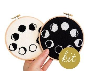 Moon Phases, Modern Cross Stitch Kit