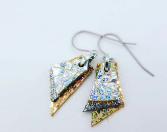 Iridescent Silver & Gold Leather Earrings (small)