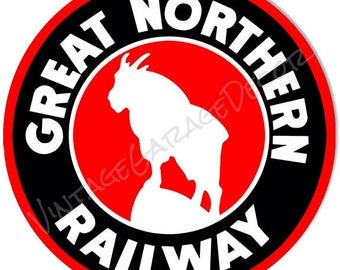 "Vintage Style "" Great Northern Railway "" Railroad / Train Metal Sign"