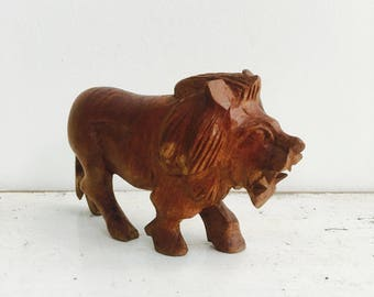 Vintage hand carved wood lion