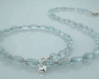 Moss Aquamarine Beaded Necklace with Fine Silver Karen Hill Tribe Beads