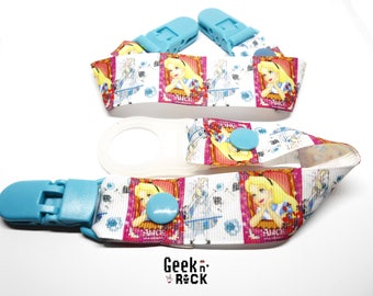 Duo clip pacifier + tie blanket Alice White Rabbit