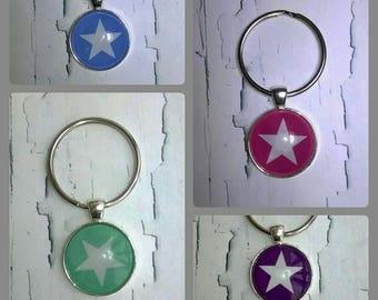 Key ring Cabochon star Blue/White