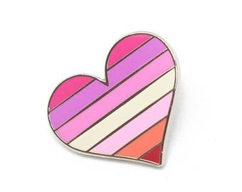 SALE-PRIDE MONTH Lesbians pride pin, gay lapel pin, lesbian flag pin, heart enamel pin, gay decoration, feminist pin, Lgbtq pin, love is lov