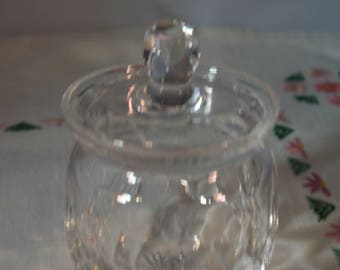 Crystal cut glass jam/preserves pot with lid/perfect gift/ships worldwide