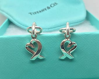 Drop Dead Gorgeous Tiffany & Co Sterling Silver Paloma Picasso Heart Loving Dangle Drop Earrings - Like New!