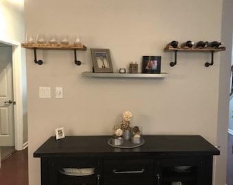 Handmade wood wine rack/plain shelf with wrought iron brackets
