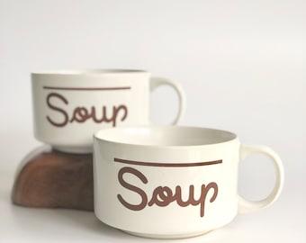 vintage soup mugs | typography mugs