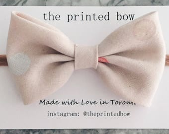 Pale Pink Spotted Big Bow Headband