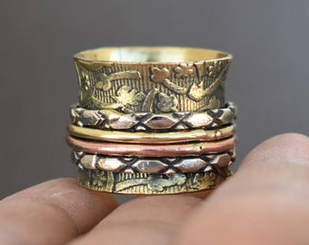 Meditation Brass spinner ring | Indian spinning band | Valentine days gift jewelry ring | Fusion ethnic ring | Yoga n prayer rings | R204