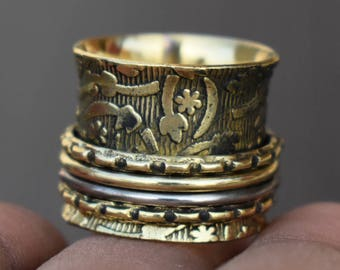Texture spinner rings | Wide prayer jewelry ring | Indian handmade ring | Meditation spinning band ring | Narrow brass ring for her | R215