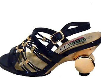 Vintage 1990's Women's Black And Gold Strap Shoes Gold Ball Heel Size 6.5