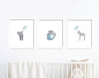 Blue Nursery Set. Baby Animals, Nursery Art. Nursery Decor, Nursery Print. Baby's Room Decor. Animal Drawing. Kid's Wall Art. Kid's Room.