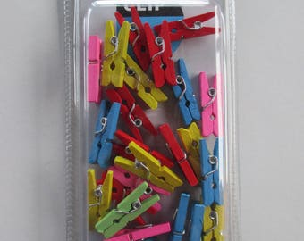 set of 25 mini clothespins wooden multicolor 25mm x 7mm