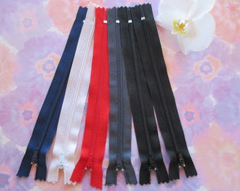 set of 6 zippers nylon not separable 18 cm.