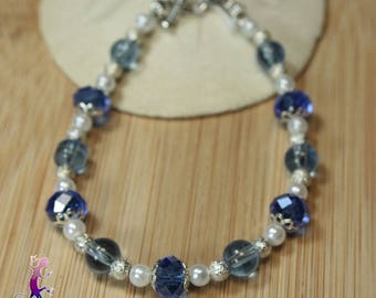 Faceted blue glass beads and metal stardust Beads Bracelet
