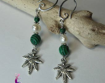 """Peace"" earrings in malachite and sterling silver 925"