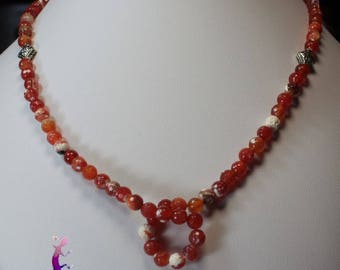 Necklace carnelian faceted beads silver-plated CO82
