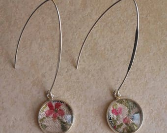 Antique and silver silk flower earrings