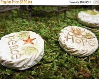 20% OFF STOREWIDE Inspirational Garden Path Stone, Stepping Stone w/ Engraved Inspiring Words for Terrarium, Fairy Patio, Miniature Garden P