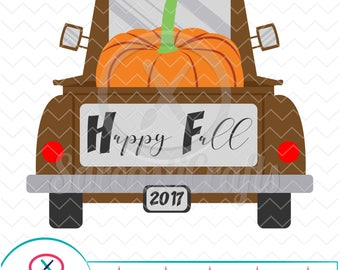 Happy Fall Truck - Fall/Thanksgiving Graphic - Digital download - svg - eps - png - dxf - Cricut - Cameo - Files for cutting machines