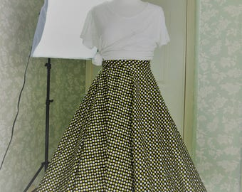 Black & yellow polkadot long skirt